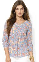 Ralph Lauren  Three Quarter Sleeve Pintucked Paisley Print Top - Lyst