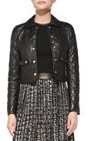 Michael Kors Quilted Leather Cropped Jacket - Lyst