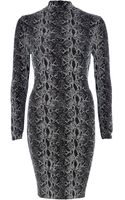 River Island Silver Snake Print Bodycon Dress - Lyst