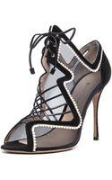 Nicholas Kirkwood Suede  Net Lace Up Heels - Lyst