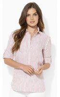 Lauren by Ralph Lauren Striped Linen Workshirt - Lyst
