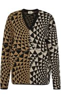 Fausto Puglisi Beige Graphic Knit V-neck Sweater - Lyst