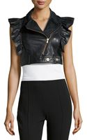 RED Valentino Ruffled Leather Crop Moto Vest - Lyst