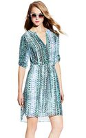 Vince Camuto Folk Geo Split Neck Dress - Lyst