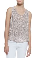 Alice + Olivia  Lucy Flowy Sequined Silk Top - Lyst