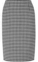 Oscar de la Renta Checked Stretch-wool Twill Pencil Skirt - Lyst