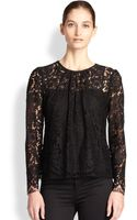 Milly Caterina Sheer Lace Blouse - Lyst