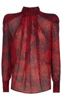Balmain High Neck Printed Blouse - Lyst