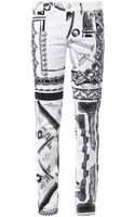 Anthony Vaccarello X Versus Versace Iconic Contrast-print Mid-rise Skinny Jeans - Lyst