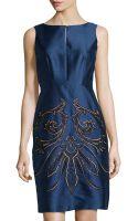Lafayette 148 New York Shantung Embellished Sleeveless Dress - Lyst