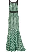 Badgley Mischka Sequin-embellished Mesh and Silk-organza Gown - Lyst