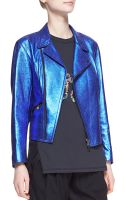 3.1 Phillip Lim Boxy Metallic Leather Moto Jacket - Lyst