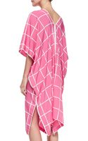 Natori Windowpaneprint Shortsleeve Caftan - Lyst