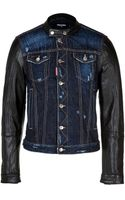 DSquared2 Jean Jacket with Leather Sleeves - Lyst