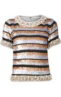 Ashish Striped Sequined Blouse - Lyst