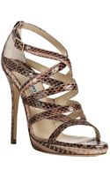 Jimmy Choo Blush Snakeskin Zero Sandals - Lyst