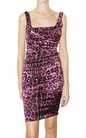 Dolce & Gabbana Leop Printed Stretch Silk Satin Dress - Lyst
