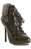 L.a.m.b. Black Perforated Leather Gais Cuffed Lace Up Booties - Lyst