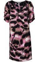 Diane Von Furstenberg V-neck Puff Sleeve Tunic Dress - Lyst