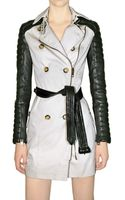 Burberry Prorsum Gabardine and Leather Sleeve Trench Coat - Lyst