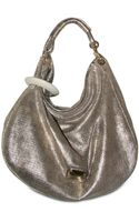 Jimmy Choo Metallic Perforated Calfskin Hobo - Lyst