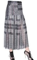 Preen By Thornton Bregazzi Printed and Pleated Georgette Skirt - Lyst