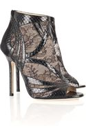 Jimmy Choo Nexus Snakeskin and Lace Sandals - Lyst