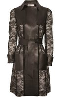 Valentino Leather and Chantilly Lace Trench Coat - Lyst