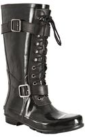 BCBGMAXAZRIA Black Rubber Willis Lace-up Rainboots - Lyst