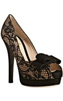Fendi Black Lace Bow Detail Platform Peep Toe Pumps - Lyst