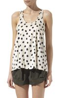 Theory Polka-dot Print Stretch-silk Top - Lyst