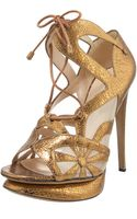 Nicholas Kirkwood Crackled Metallic Lace-up Sandal - Lyst