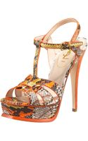 Saint Laurent Tribute Python Sandal, Orange - Lyst