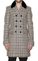 Burberry Prorsum Mink Collar Tweed Hounds Tooth Coat - Lyst
