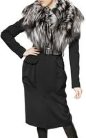 DSquared2 Silver Fox Collar Wool Stretch Coat - Lyst