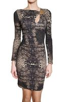 Roberto Cavalli Jewelled Printed Lycra Dress - Lyst