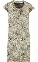 Burberry Prorsum Metallic Cotton-blend Floral Jacquard Dress - Lyst