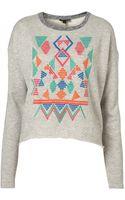 Topshop Embroidered Aztec Sweatshirt - Lyst