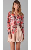 Milly Marian Print Tie Blouse - Lyst