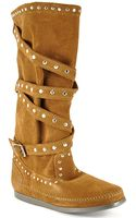 Minnetonka Tall Studded Strap Boot  - Lyst