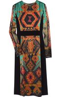 Etro Printed Textured-satin and Crepe Dress - Lyst