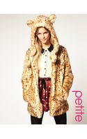 ASOS Collection Asos Petite Faux Fur Leopard Hooded Coat with Ears - Lyst