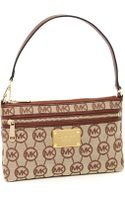 Michael by Michael Kors Jet Set Large Wristlet, Ebony/mocha Monogram - Lyst