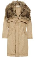 MICHAEL Michael Kors Faux Fur-collar Satin-twill Coat - Lyst