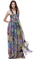 Matthew Williamson Batik Print Mousseline Beaded Strap Gown - Lyst