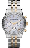 Michael Kors Midsize Silver Color Stainless Steel Ritz Chronograph Glitz Watch - Lyst