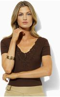 Lauren by Ralph Lauren Karley V-neck T-shirt - Lyst
