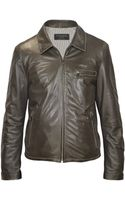 Forzieri Mens Dark Brown Genuine Leather Motorcycle Jacket - Lyst