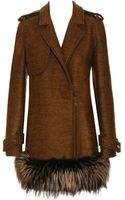 Lanvin Mohair-silk Coat with Fox Fur Trim - Lyst