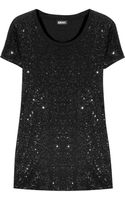 DKNY Sequined Cotton T-shirt - Lyst